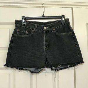 Vintage Levi's Denim Shorts/ Washed Black